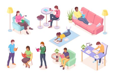 Set of cartoon adult people read books while lying at sofa or sitting. Man working at table and woman reading magazine. Male and female study or leisure illustration design. Literature and reading Stock Illustratie