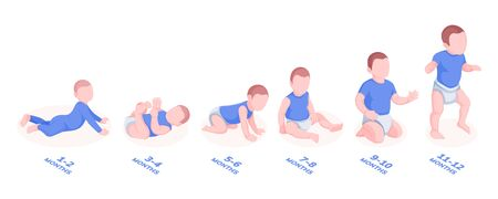Set of infant boys growth stages for first year of life. Vector illustration baby or child, kid month periods. Male toddler walking and rolling. Progress of lie, sit, walk for baby. Pediatrics center  イラスト・ベクター素材