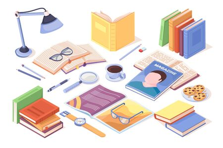 Table with books and opened magazine. Pile of literature. Vector sign design for teacher or working detective, student study equipment. Diary. Reading and studying, learning, knowledge illustration