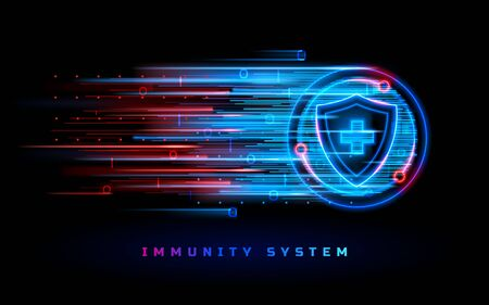 Immunity system protection shield, coronavirus antiviral vaccine medicine, vector neon line background. Viruses and infections, antibacterial medicine, immune system and disease epidemic protection