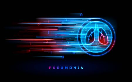 Pneumonia, lung disease, cancer and bronchitis, vector neon red blue line lungs sign. Respiratory system and pulmonary disease, tuberculosis, asthma, flu and cough infections and healthcare background Stock Illustratie