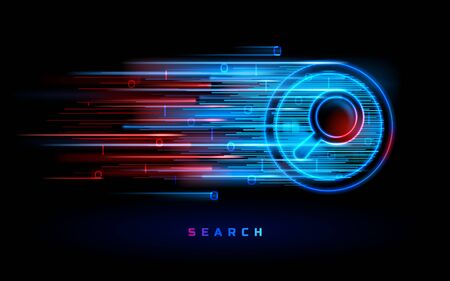 Internet search engine technology, vector red blue neon magnifier sign background. Website search and SEO optimization, web data digital analysis, digital marketing and online information Stock Illustratie