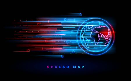 World map spread vector background, blue red neon hot spots. Coronavirus epidemic, war actions and virus disease attack spread on world map, hot news alert backdrop and warning infographic template