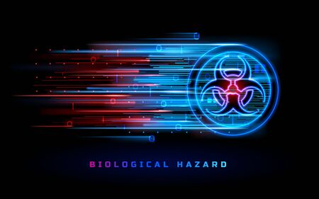 Biohazard neon light sign, biological hazard danger warning vector background. Bio hazard red blue symbol, chemical toxic, virus and bacterial dangerous waste, biohazard contamination restricted zone  イラスト・ベクター素材