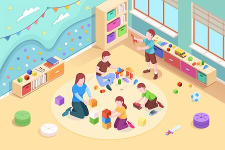 Isometric kindergarten room with playing kids. Children at preschool classroom with teacher. Boys and girl game with rocket and cube. Vector design illustration for playroom with toys.