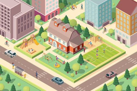 Scenery view on kindergarten with playground. Isometric school at city or town block. Schoolyard with swedish ladder and soccer field, slide and carousel, sandbox for children or kids. Architecture