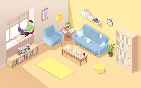 Freelancer on windowsill using notebook for doing remote job. Isometric vector living room with man near window working at laptop. Home office for male business concept. Comfortable workplace