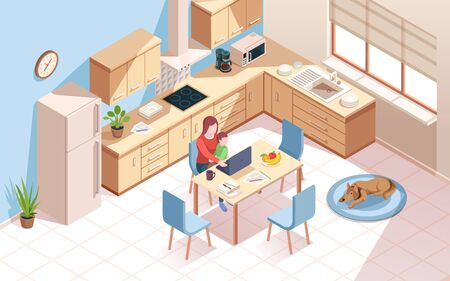 Remote worker at kitchen doing work and using notebook. Woman a cup of coffee and child at room with dog. Freelancer employee at home work with kid. Isometric vector interior. Freelance, remote work