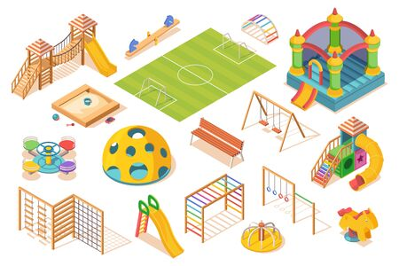 Set of isolated playground elements, isometric view. Children or kids play ground equipment. Slide and carousel, soccer field and swing, sandpit, swedish ladder, castle and bench. Play and game item