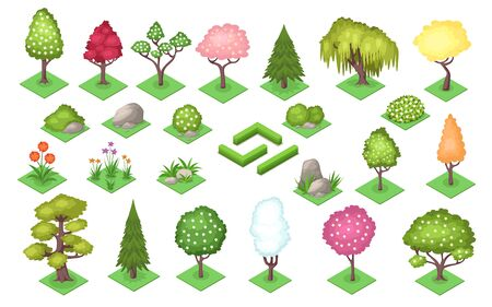Cartoon trees and bush fence, stones and grass at summer or spring season. Nature landscape element of plants foliage. Park and wood, garden and forest symbols. Timber or lawn decoration. Foliage Illustration