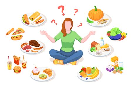 Woman choosing healthy and junk food. Person making choice between unhealthy and organic nutrition. Girl doing lifestyle select. Diet vector illustration design. Meal and snack, dieting decision