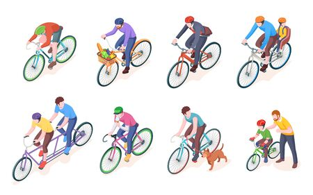 Man on sport bike and father with child or kid on bicycle. Adult men on double wheel and pedal transport with grocery. Biking and travel, exercise or tour vector illustration. Speed, race, road, ride  イラスト・ベクター素材
