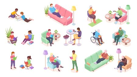 Set of old and young, adult people reading. Children sitting and male lying on sofa, disabled man at wheelchair. Education and literature, reading vector sign design. Isometric people, character  イラスト・ベクター素材