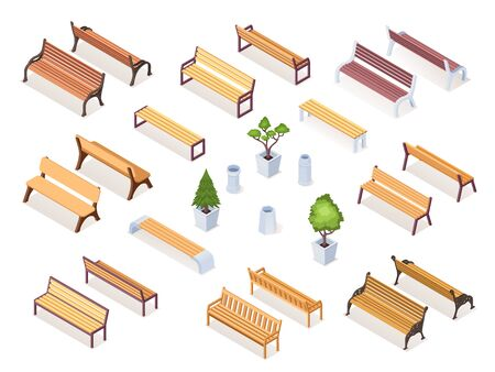 Isometric wooden bench or park chair, garden pot with bush or tree. Realistic sitting furniture for street rest. Outdoor and exterior wood objects. Urban, street architecture vector drawing. Isometry  イラスト・ベクター素材