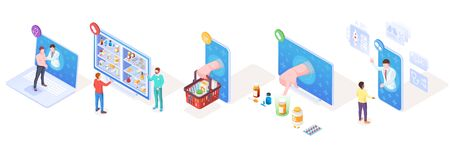 Set of isometric vector signs for online medical support and pharmacy, drugs delivery and doctor consultation or diagnosis. Smartphone use for medicine, prescription.Illustration design for healthcare  イラスト・ベクター素材