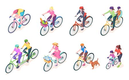 Set of isolated woman cyclist on bikes with baskets. Bike with women rider and flowers, grocery. Female with child or kid on cycle. Bicyclist and dog at walk. Pedal activity.Biking vector illustration