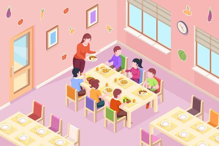 Children at kindergarten having meal. Kids teacher bringing healthy food at dinner or breakfast time. Classroom with boys and girls at eat table. Dining room interior design. Preschool illustration