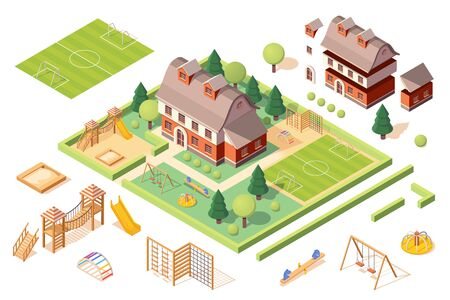 Set of isolated playground equipments and kindergarten or school building elements. Isometric soccer or football pitch, sandbox or sandpit, carousel and slide, swing and swedish ladder. Playschool  イラスト・ベクター素材