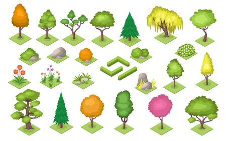 Set of isolated cartoon decoration elements for park and garden, wood or forest. Bush fence and tree, stone and flower at summer or spring season. Cartoon flat plants collection. Botany and nature