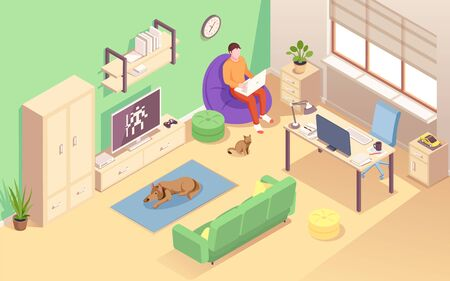 Man designer sitting at chair bag with notebook doing remote work. Freelancer male using laptop for job. Home office at living room with cat and dog, computer table. Cozy workplace for freelance