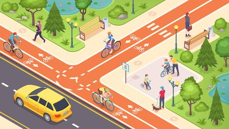 Bicycle path and bike road lane in city street, vector isometric illustration. Urban traffic road lane with biking, pedestrian and transport path, crossing marking and children bicycle playground  イラスト・ベクター素材