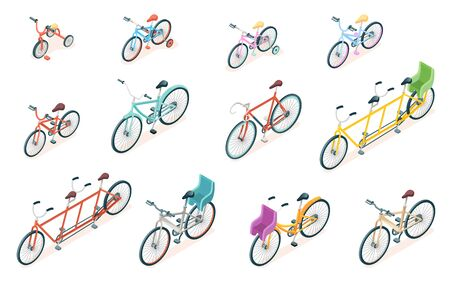 Set of isolated bicycle for ride. Triple bike and tricycle for kid or child. Adult and children wheel transport, parking rack with rails and sign. Vector illustration for cyclist or bicyclist vehicle.  イラスト・ベクター素材