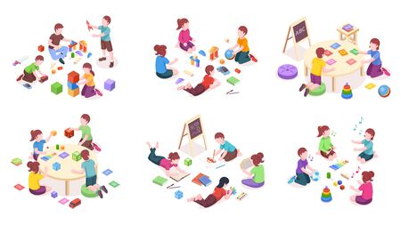 Children playing, isometric elements, kindergarten education and leisure activity. Children playing toys, music instruments and alphabet cubes, reading books and painting, isometric illustration set