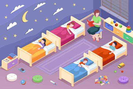 Teacher reading fairy tale for children at kindergarten. Woman read book for kids during bedtime. Child at sleep. Preschool room for sleeping design. Vector illustration. Childhood and sleep theme