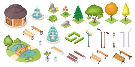 Park trees and landscape elements set, vector isolated isometric icons. Park and garden landscaping constructor, isometric trees, ponds and benches, fountain, plants and flowers, grass and hedges  イラスト・ベクター素材