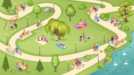 People in city park, family rest, summer picnic and leisure activity, isometric vector background. People in public park, sitting on bench, reading books under tree, walking and feeding swans in pond