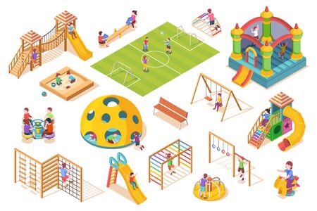 Isometric items or equipment for playground with playing kids or children. Schoolyard or play ground slide and seesaw, swing and sandbox, carousel and soccer field, ladder and castle. Outdoor game