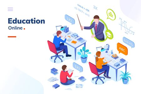 Online education, school student lessons and university distance learning, vector isometric concept. Mathematics online education lessons or exams, students studying with books and teacher
