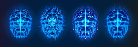 Set of isolated blue glowing brains with neural connection lines. AI or artificial intelligence, machine learning or cyber mind  . Bionic human brain or cybermind,cyberbrain.Future neuro technology
