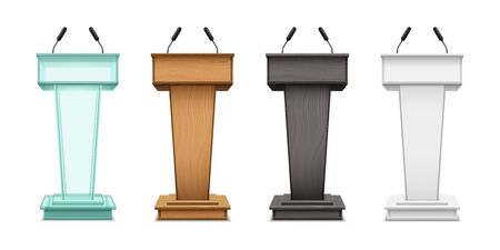Podium tribunes, vector realistic isolate set on white background. Speaker tribunes, ceremony, presentation or debates speech podiums with microphones of glass, brown and black wood  イラスト・ベクター素材