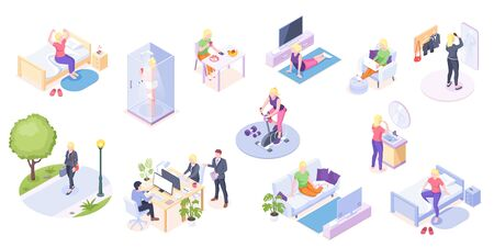 Woman daily life, home routine and work, everyday activity vector isometric icons. Woman daily life at home and office, morning shower, fitness and yoga, eating breakfast, reading and relaxing on sofa