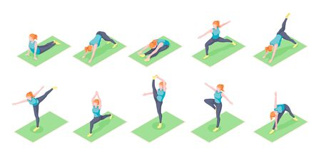 Woman or girl yoga poses exercise on yoga mat, vector isometric icons. Woman body balance and stretch, sport and fitness workout, or pilates workout, mediation posture and wellness activity  イラスト・ベクター素材