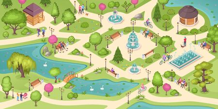 People in city park, summer leisure activity, isometric vector background. People rest in public park, sitting on bench, reading book and newspaper, walking and jogging, park pond, fountains and lawns
