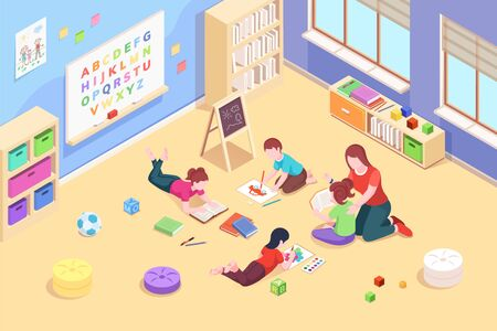 Kindergarten classroom with children playing and reading, painting. Preschool teacher with kids. Isometric room with toys and chalkboard. Playroom for baby. Vector design. Education and childhood