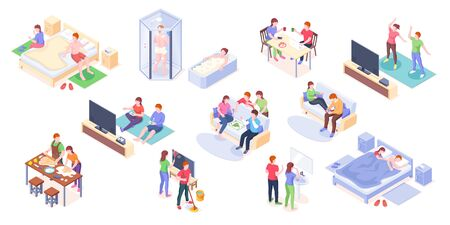 Couple daily life isometric vector design, man and woman home routine and everyday leisure activity. Couple daily life taking shower and bath, playing games with friends, cooking and eating breakfast  イラスト・ベクター素材