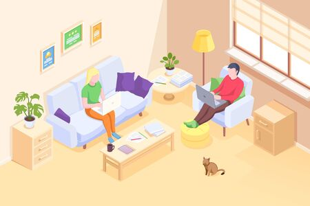 Couple working online home, freelancer man and woman with computer laptops, vector isometric illustration. Self employed couple freelance bloggers or designers, quarantine isolation social distance  イラスト・ベクター素材