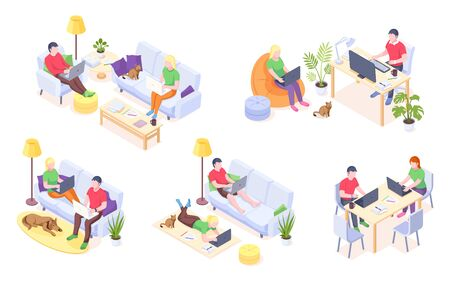 Working at home, couple freelancers online work and home office, vector isometric icons. Man and woman couple with laptops and computers work sitting on sofa, at desktop table and lying on floor  イラスト・ベクター素材