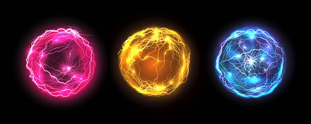 Energy balls and plasma sphere, vector electric lightning and light flash sparks. Magic lightning discharge, red pin, blue purple and golden yellow color realistic energy balls, electric light burst  イラスト・ベクター素材