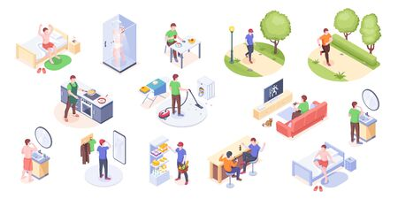 Man daily life, home routine and everyday life, vector isometric icons. Man daily work day and leisure activity, morning wake up, eating breakfast, watching TV, running in park, cooking and shopping