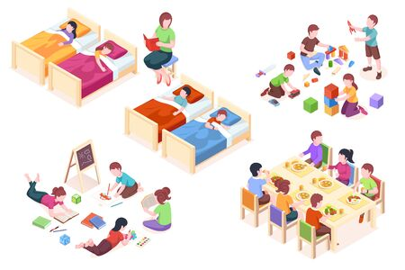Set of isolated illustration of children s kindergarten activity. Kids at sleep, child at dining table, boys and girls playing, preschool kinder study and read books. Woman teacher with her class