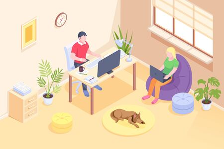 Online work, couple freelance home office, vector isometric design. Woman working from home on laptop, remote online work and education, man freelancer at computer table in room, quarantine isolation