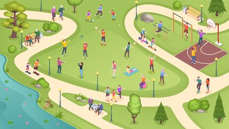 People in city park, sport activity and summer leisure games, isometric vector background. People in public park jogging, playing basketball and tennis, training at workout ground and riding scooters Иллюстрация
