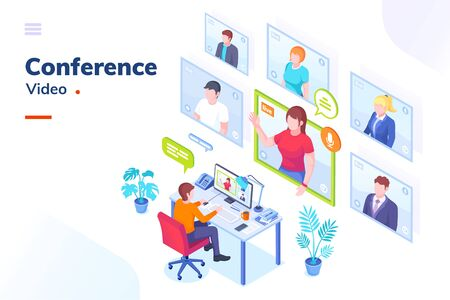 Video conference internet meeting and live video chat isometric vector illustration. Business video call and online communication for remote education, webinar or office chat, video conference call Vettoriali