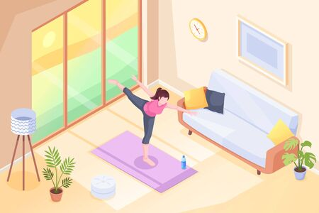 Yoga at home, woman doing exercise pose in room on yoga mat, vector isometric illustration. Yoga sport and stretch workout or morning exercises in room, girl home fitness and health activity Vettoriali