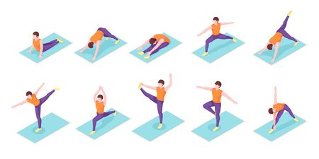 Man yoga poses exercise on yoga mat, vector isometric icons. Boy man body balance and stretch, sport and fitness workout, or pilates workout, mediation posture and wellness activity Çizim