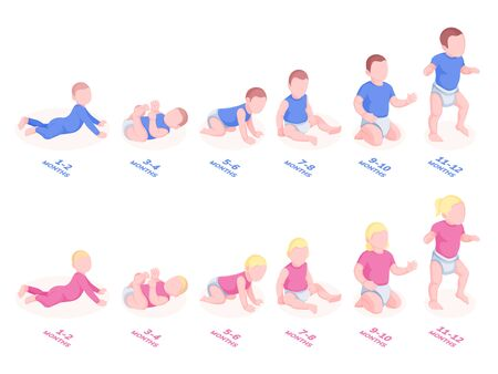 Baby timeline development for first year. Infant growth with month stages. Sitting, lying, walking toddler periods. Sign vector design for perinatal center. Set child, kid, boy and girl, male, female